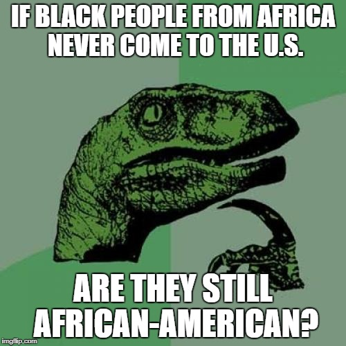 Philosoraptor Meme | IF BLACK PEOPLE FROM AFRICA NEVER COME TO THE U.S. ARE THEY STILL AFRICAN-AMERICAN? | image tagged in memes,philosoraptor | made w/ Imgflip meme maker