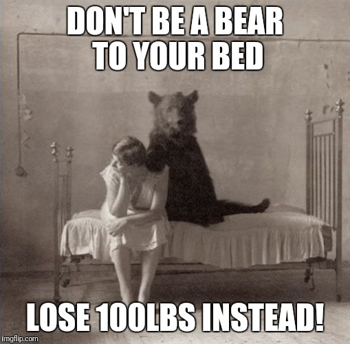 Bear Bed | DON'T BE A BEAR TO YOUR BED LOSE 100LBS INSTEAD! | image tagged in bear bed | made w/ Imgflip meme maker