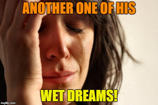 First World Problems Meme | ANOTHER ONE OF HIS WET DREAMS! | image tagged in memes,first world problems | made w/ Imgflip meme maker
