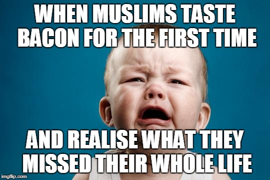 BABY CRYING | WHEN MUSLIMS TASTE BACON FOR THE FIRST TIME AND REALISE WHAT THEY MISSED THEIR WHOLE LIFE | image tagged in baby crying | made w/ Imgflip meme maker