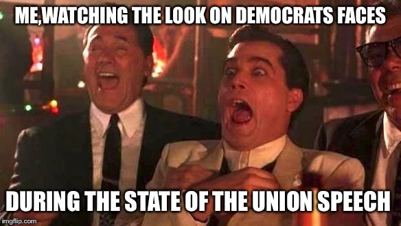 Stone Faced Liberals | ME,WATCHING THE LOOK ON DEMOCRATS FACES DURING THE STATE OF THE UNION SPEECH | image tagged in ray liotta laughing in goodfellas 2/2 | made w/ Imgflip meme maker