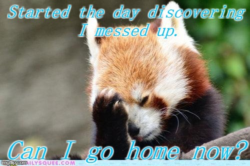 Redpanda Facepalm | Started the day discovering I messed up. Can I go home now? | image tagged in redpanda facepalm | made w/ Imgflip meme maker