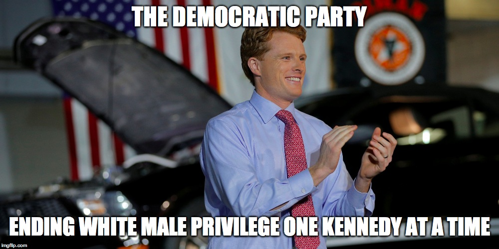 THE DEMOCRATIC PARTY ENDING WHITE MALE PRIVILEGE ONE KENNEDY AT A TIME | image tagged in joe,kennedy,joe kennedy | made w/ Imgflip meme maker