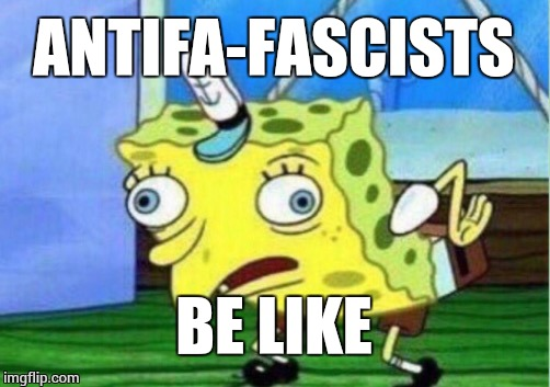 Mocking Spongebob Meme | ANTIFA-FASCISTS BE LIKE | image tagged in memes,mocking spongebob | made w/ Imgflip meme maker