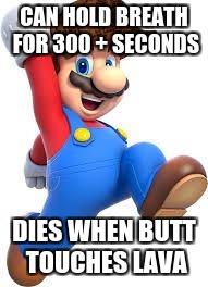 mario | CAN HOLD BREATH FOR 300 + SECONDS DIES WHEN BUTT TOUCHES LAVA | image tagged in mario,scumbag | made w/ Imgflip meme maker