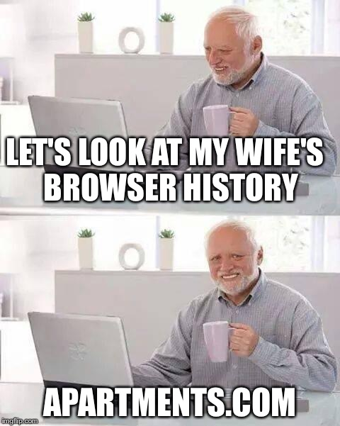 Apartments.com | LET'S LOOK AT MY WIFE'S  BROWSER HISTORY APARTMENTS.COM | image tagged in memes,hide the pain harold,browser history | made w/ Imgflip meme maker