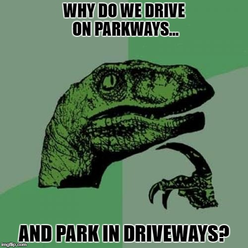 Philosoraptor Meme | WHY DO WE DRIVE ON PARKWAYS... AND PARK IN DRIVEWAYS? | image tagged in memes,philosoraptor | made w/ Imgflip meme maker