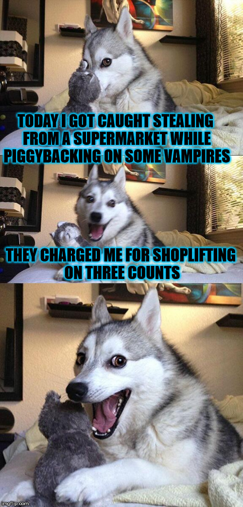 Don't do shoplifting | TODAY I GOT CAUGHT STEALING FROM A SUPERMARKET WHILE PIGGYBACKING ON SOME VAMPIRES THEY CHARGED ME FOR SHOPLIFTING ON THREE COUNTS | image tagged in memes,bad pun dog,shoplifting,supermarket,count,vampires | made w/ Imgflip meme maker