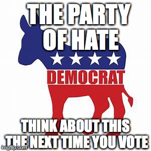 THE PARTY OF HATE THINK ABOUT THIS THE NEXT TIME YOU VOTE | image tagged in democratic party | made w/ Imgflip meme maker