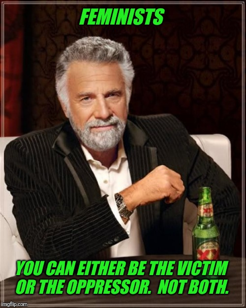 Jordan Peterson | FEMINISTS YOU CAN EITHER BE THE VICTIM OR THE OPPRESSOR.  NOT BOTH. | image tagged in memes,the most interesting man in the world,jordan peterson,feminism,feminist | made w/ Imgflip meme maker
