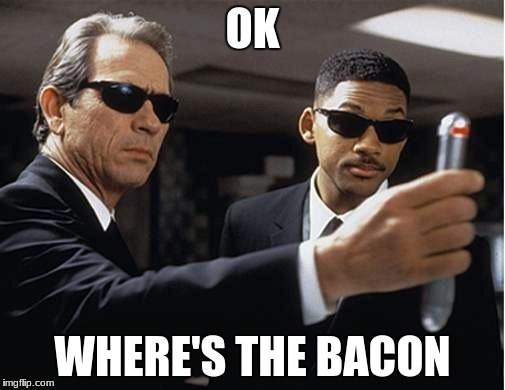 Men in black | OK WHERE'S THE BACON | image tagged in men in black | made w/ Imgflip meme maker