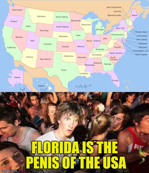 So,is Death Metal USA's jizz? | FLORIDA IS THE PENlS OF THE USA | image tagged in memes,usa,america,florida,geography,powermetalhead | made w/ Imgflip meme maker