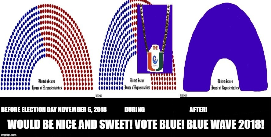 The Miami Hurricanes Know The Score! Vote Blue, Blue Wave 2018! | image tagged in miami hurricanes,turnover chain,blue wave 2018,vote blue,democratic take over of congress,country over party | made w/ Imgflip meme maker