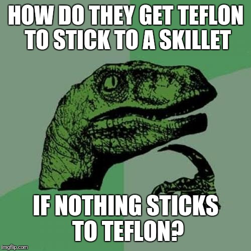 Philosoraptor Meme | HOW DO THEY GET TEFLON TO STICK TO A SKILLET IF NOTHING STICKS TO TEFLON? | image tagged in memes,philosoraptor | made w/ Imgflip meme maker