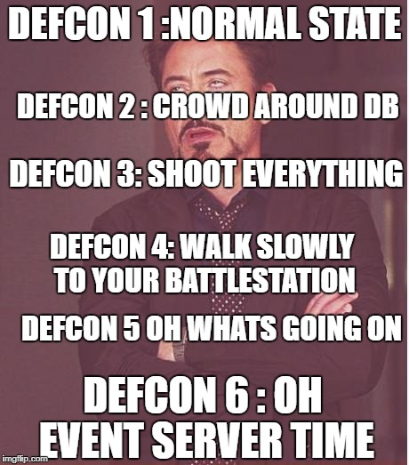 Defcons on IceFuse | DEFCON 1 :NORMAL STATE DEFCON 6 : OH EVENT SERVER TIME DEFCON 2 : CROWD AROUND DB DEFCON 3: SHOOT EVERYTHING DEFCON 4: WALK SLOWLY TO YOUR B | image tagged in memes,face you make robert downey jr,gmod | made w/ Imgflip meme maker