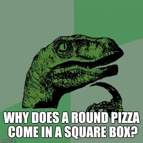 Philosoraptor Meme | WHY DOES A ROUND PIZZA COME IN A SQUARE BOX? | image tagged in memes,philosoraptor | made w/ Imgflip meme maker