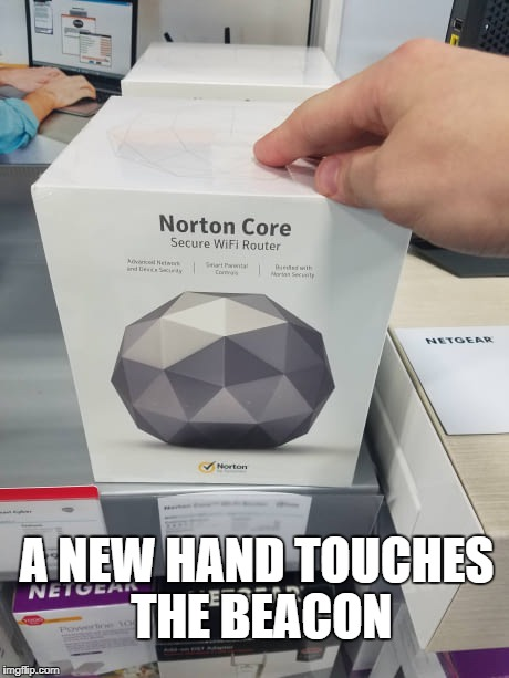 The Beacon | A NEW HAND TOUCHES THE BEACON | image tagged in skyrim,meme,funny,norton | made w/ Imgflip meme maker