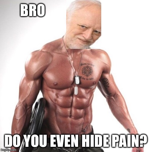 Maybe Harold can lift the pain | BRO DO YOU EVEN HIDE PAIN? | image tagged in hide the pain harold,do you even lift,bodybuilder,muscle man | made w/ Imgflip meme maker