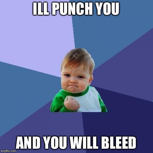 Success Kid Meme | ILL PUNCH YOU AND YOU WILL BLEED | image tagged in memes,success kid | made w/ Imgflip meme maker