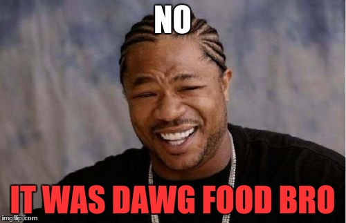 Yo Dawg Heard You Meme | NO IT WAS DAWG FOOD BRO | image tagged in memes,yo dawg heard you | made w/ Imgflip meme maker