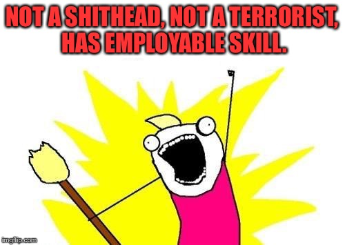 X All The Y Meme | NOT A SHITHEAD, NOT A TERRORIST, HAS EMPLOYABLE SKILL. | image tagged in memes,x all the y | made w/ Imgflip meme maker