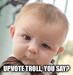 Skeptical Baby Meme | UPVOTE TROLL, YOU SAY? | image tagged in memes,skeptical baby | made w/ Imgflip meme maker