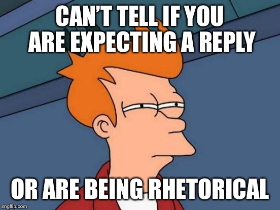 Futurama Fry Meme | CAN'T TELL IF YOU ARE EXPECTING A REPLY OR ARE BEING RHETORICAL | image tagged in memes,futurama fry | made w/ Imgflip meme maker