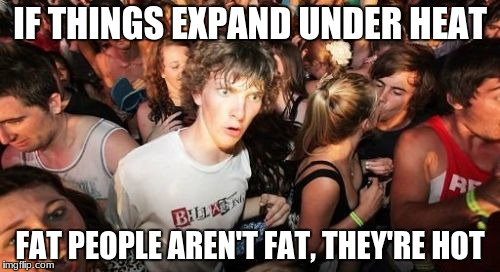 Sudden Clarity Clarence Meme | IF THINGS EXPAND UNDER HEAT FAT PEOPLE AREN'T FAT, THEY'RE HOT | image tagged in memes,sudden clarity clarence | made w/ Imgflip meme maker