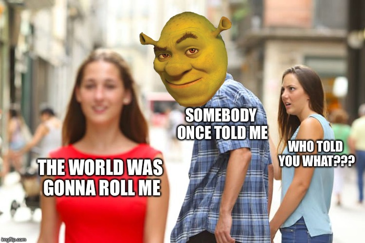 Shrek VS. The girl she told him not to worry about | THE WORLD WAS GONNA ROLL ME SOMEBODY ONCE TOLD ME WHO TOLD YOU WHAT??? | image tagged in memes,distracted boyfriend,shrek | made w/ Imgflip meme maker