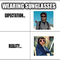 Expectation vs Reality | WEARING SUNGLASSES | image tagged in expectation vs reality | made w/ Imgflip meme maker