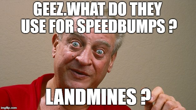 GEEZ.WHAT DO THEY USE FOR SPEEDBUMPS ? LANDMINES ? | made w/ Imgflip meme maker