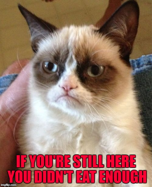 Grumpy Cat Meme | IF YOU'RE STILL HERE YOU DIDN'T EAT ENOUGH | image tagged in memes,grumpy cat | made w/ Imgflip meme maker