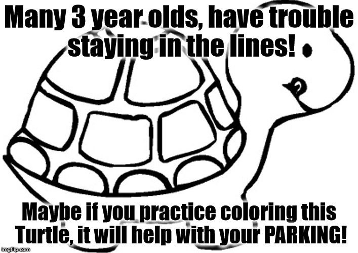 Many 3 year olds, have trouble staying in the lines! Maybe if you practice coloring this Turtle, it will help with your PARKING! | image tagged in turtle | made w/ Imgflip meme maker
