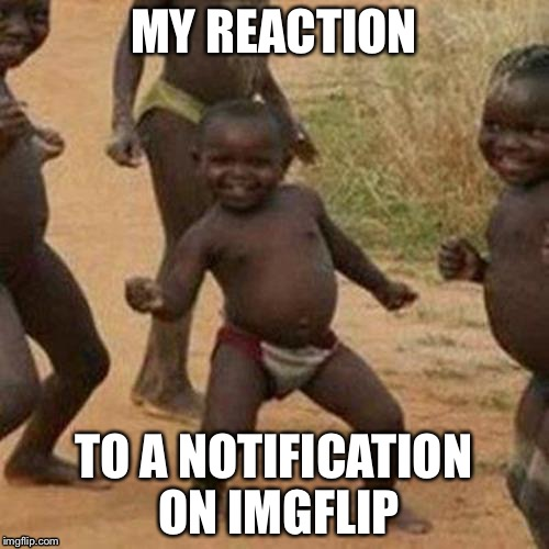 Third World Success Kid Meme | MY REACTION TO A NOTIFICATION ON IMGFLIP | image tagged in memes,third world success kid | made w/ Imgflip meme maker