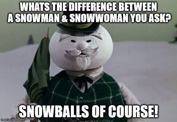 WHATS THE DIFFERENCE BETWEEN A SNOWMAN & SNOWWOMAN YOU ASK? SNOWBALLS OF COURSE! | image tagged in sam the snowman | made w/ Imgflip meme maker
