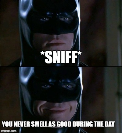 Creepy Batman | *SNIFF* YOU NEVER SMELL AS GOOD DURING THE DAY | image tagged in memes,batman smiles,creepy batman | made w/ Imgflip meme maker