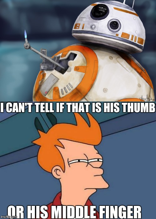 great question | I CAN'T TELL IF THAT IS HIS THUMB OR HIS MIDDLE FINGER | image tagged in futurama fry,bb8 | made w/ Imgflip meme maker