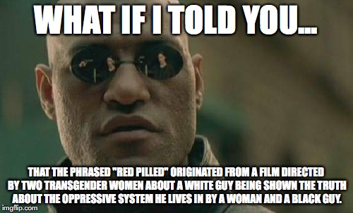"Matrix Morpheus Meme | WHAT IF I TOLD YOU... THAT THE PHRASED ""RED PILLED"" ORIGINATED FROM A FILM DIRECTED BY TWO TRANSGENDER WOMEN ABOUT A WHITE GUY BEING SHOWN T 