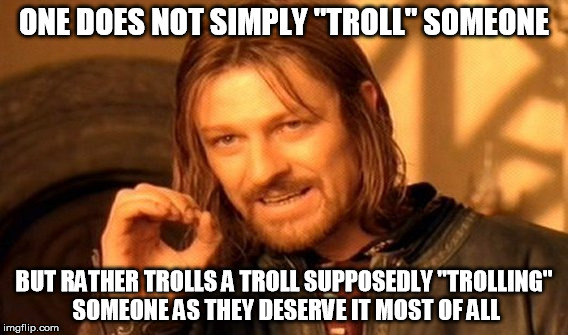 "The reality of the situation. | ONE DOES NOT SIMPLY ""TROLL"" SOMEONE BUT RATHER TROLLS A TROLL SUPPOSEDLY ""TROLLING"" SOMEONE AS THEY DESERVE IT MOST OF ALL 