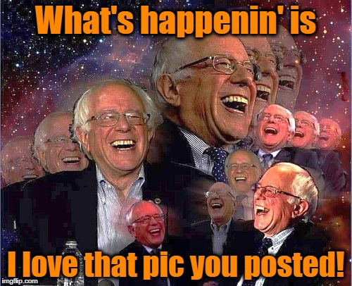Bernie Laff | What's happenin' is I love that pic you posted! | image tagged in bernie laff | made w/ Imgflip meme maker