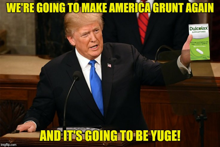 WE'RE GOING TO MAKE AMERICA GRUNT AGAIN AND IT'S GOING TO BE YUGE! | made w/ Imgflip meme maker