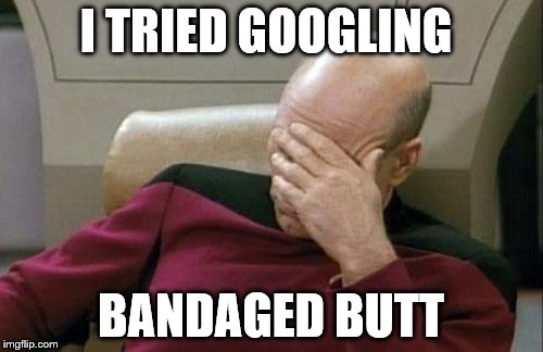 Captain Picard Facepalm Meme | I TRIED GOOGLING BANDAGED BUTT | image tagged in memes,captain picard facepalm | made w/ Imgflip meme maker