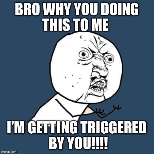 Y U No Meme | BRO WHY YOU DOING THIS TO ME I'M GETTING TRIGGERED BY YOU!!!! | image tagged in memes,y u no | made w/ Imgflip meme maker