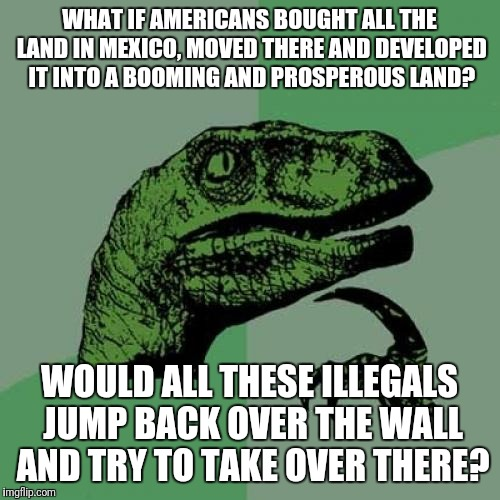Let's Just Build Up Mexico, Ship Them Back There and Make a Profit. | WHAT IF AMERICANS BOUGHT ALL THE LAND IN MEXICO, MOVED THERE AND DEVELOPED IT INTO A BOOMING AND PROSPEROUS LAND? WOULD ALL THESE ILLEGALS J | image tagged in memes,philosoraptor,illegal immigration,mexico | made w/ Imgflip meme maker