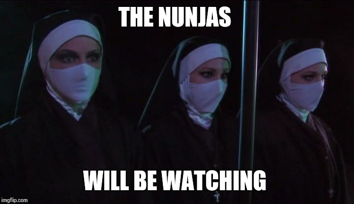 Nunjas | THE NUNJAS WILL BE WATCHING | image tagged in nunjas | made w/ Imgflip meme maker