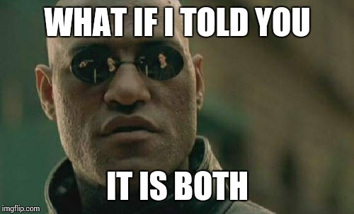 Matrix Morpheus Meme | WHAT IF I TOLD YOU IT IS BOTH | image tagged in memes,matrix morpheus | made w/ Imgflip meme maker