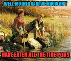 Let them eat.... soap! | WELL, MOTHER SAID WE SHOULDN'T HAVE EATEN ALL THE TIDE PODS | image tagged in tide pods | made w/ Imgflip meme maker