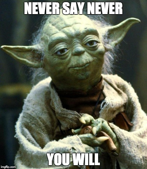 Star Wars Yoda Meme | NEVER SAY NEVER YOU WILL | image tagged in memes,star wars yoda | made w/ Imgflip meme maker