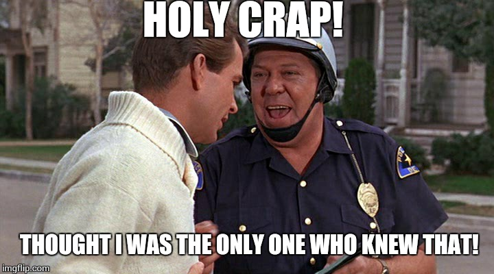 officer puppy | HOLY CRAP! THOUGHT I WAS THE ONLY ONE WHO KNEW THAT! | image tagged in officer puppy | made w/ Imgflip meme maker