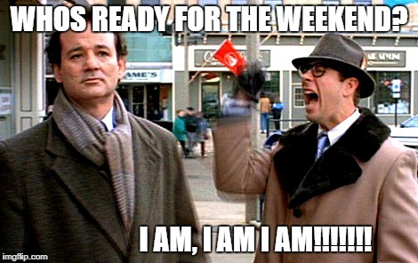 WHOS READY FOR THE WEEKEND? I AM, I AM I AM!!!!!!! | image tagged in groundhog day | made w/ Imgflip meme maker